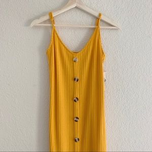 RILEY&JAMES YELLOW RIBBED STRETCHY DRESS (0816)